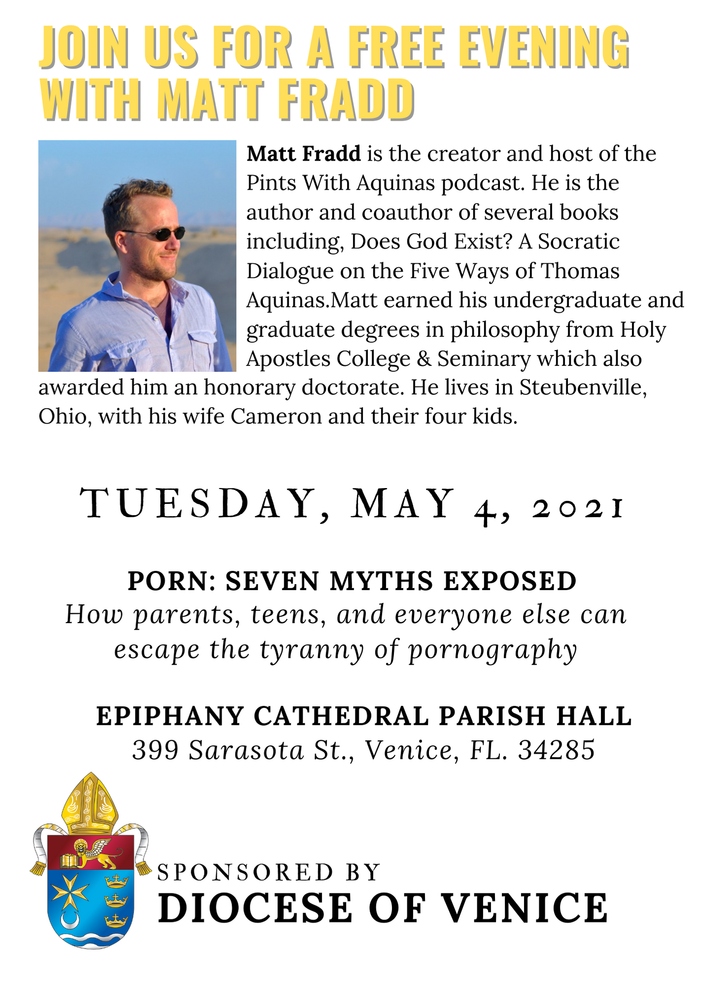 JOIN US FOR A FREE EVENING WITH MATT FRADD ON TUESDAY, MAY 4TH